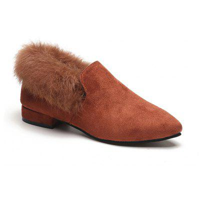 Buy BROWN 38 Women Single Casual Sexy Feather Thick low Heel Roman Holiday Beach Shoes for $21.56 in GearBest store