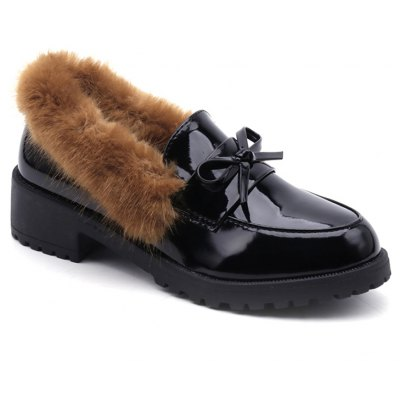 Buy BROWN 38 Women Winter Warm Roman Single Fur Shoes Simple Fashion Casual PU Leather Thick Middle High Heel for $21.56 in GearBest store