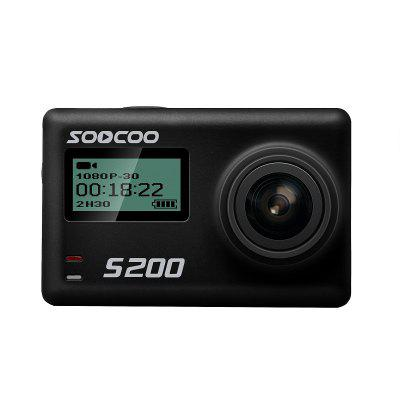 Buy BLACK SOOCOO S200 4K Sports Camera 2.45 Inch Touch Screen with WiFi Voice Control Gyroscope Anti-Shake External Microphone GPS for $129.25 in GearBest store