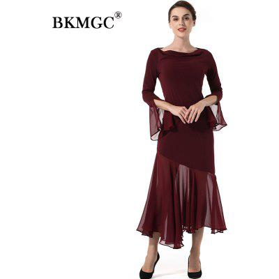 Long Sleeve Irregular Chiffon DressWomens Dresses<br>Long Sleeve Irregular Chiffon Dress<br><br>Dresses Length: Mid-Calf<br>Elasticity: Micro-elastic<br>Embellishment: Spliced<br>Fabric Type: Chiffon<br>Material: Polyester<br>Neckline: Cowl Neck<br>Package Contents: 1 x Dress<br>Pattern Type: Solid<br>Season: Winter, Fall<br>Silhouette: A-Line<br>Sleeve Length: Long Sleeves<br>Sleeve Type: Butterfly Sleeve<br>Style: Fashion<br>Waist: Natural<br>Weight: 0.3500kg<br>With Belt: No