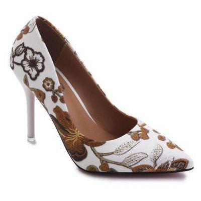 Fashion Printing Pointed Shallow Mouth High-Heeled Women Shoe