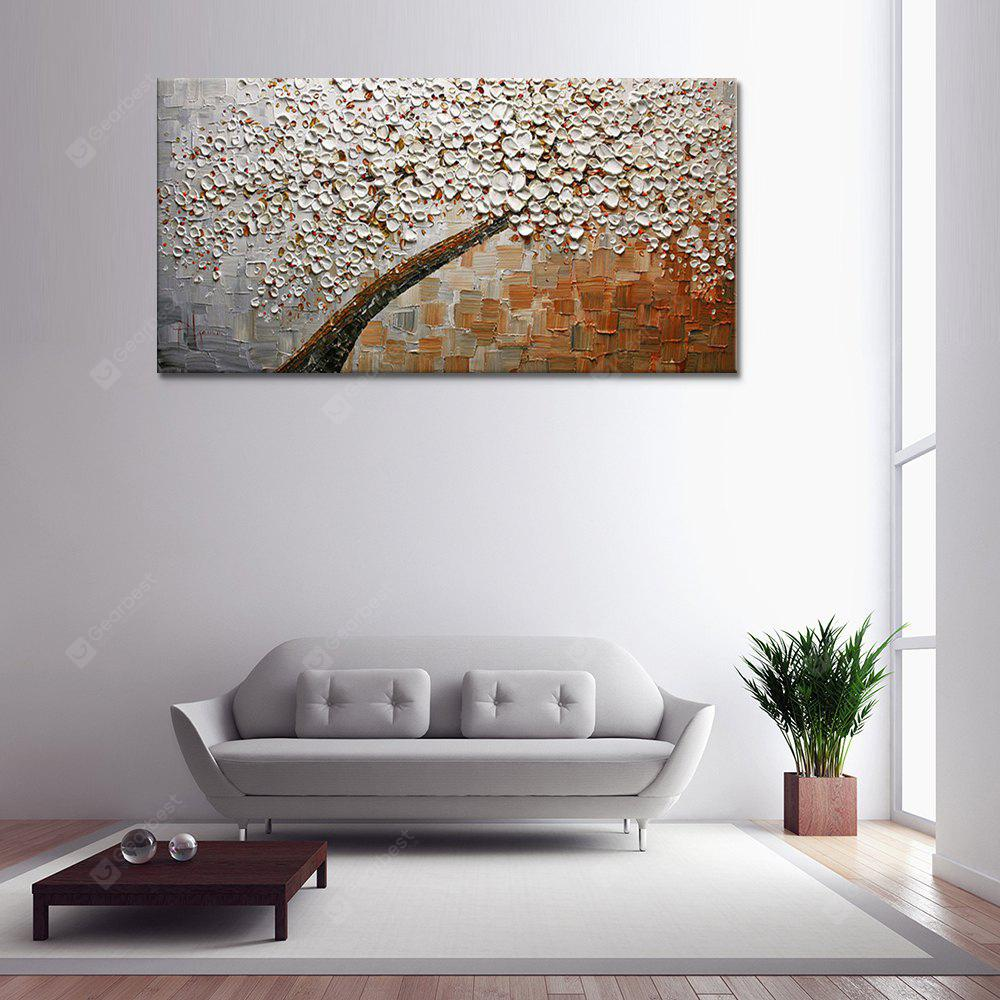 Pittura a olio astratta a mano dipinta a mano di Brown Whiter Flowers