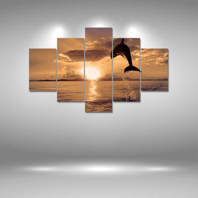 Jumping Dolphin Canvas Print Painting Home Decoration Wall Art Picture 5PCS