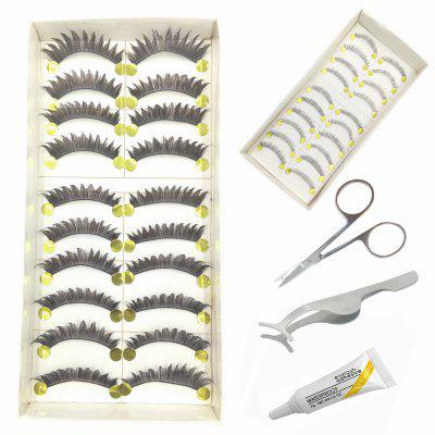 5 in 1 Handmade Black Thick and Lower False Eyelash Tool Kit Suit