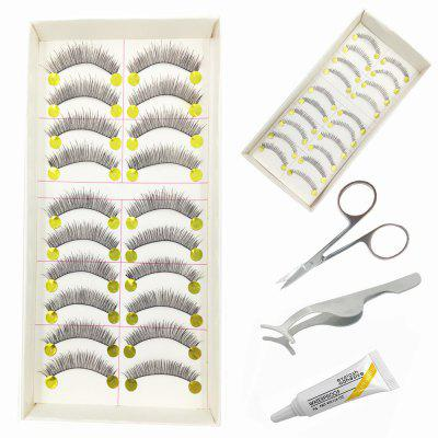 5 em 1 Handmade Black Natural Long e Lower False Eyelash Tool Kit Suit