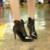 LX-L773A Stiletto Strap Buckle Zipper Fashion Boots - BLACK A
