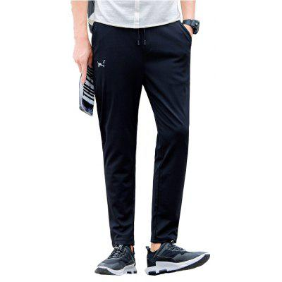 Men's Character Embroidered Black Sweatpants