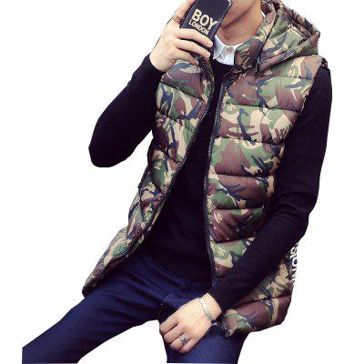Lover's Style Trend Camouflage Pattern Hooded Waistcoat Vest