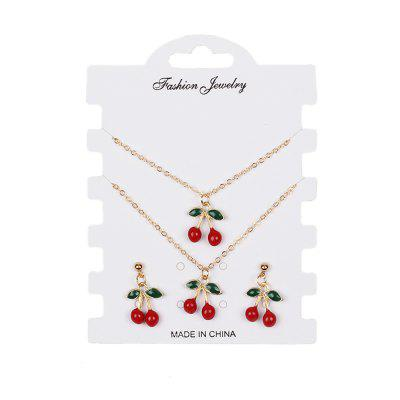 Creative Red Cherry Set Bracelet Earrings Necklaces