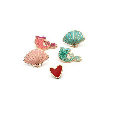 Buy COLORFUL 5PCS Small Fresh Jewelry Lovely Cartoon Mermaid Tail Brooch Heart Shell Set for $10.59 in GearBest store