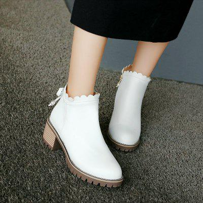Bow Knot Round Head Student Heel Stiefel