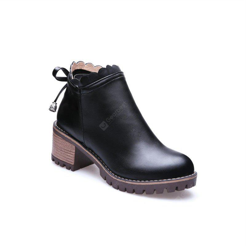 Bow Knot Round Head Student Heel Boots
