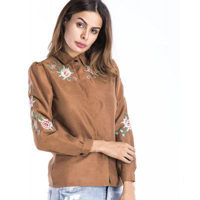 Buy KHAKI Embroidered Lapel Cute Shirt for $21.48 in GearBest store