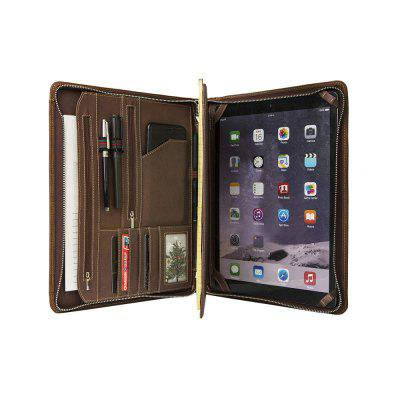 Crazy-Horse Leather Business Portfolio Zipper for iPad