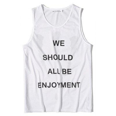 Men's English Letters Printing Breathable Tank Top