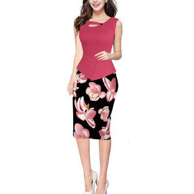 Buy ROSE RED XL New Style Summer Woman Sleeveless Printed Bodycon Pencil Dress for $24.88 in GearBest store