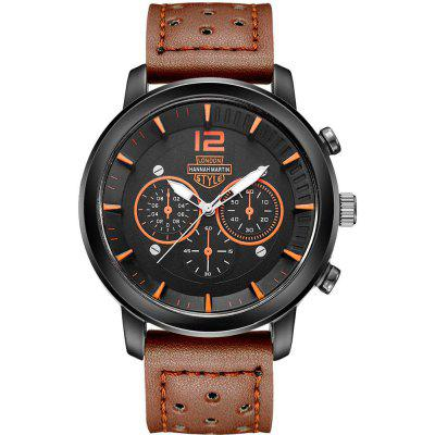 Hannamading 1703 4853 Casual Three Eye Men Leather Band Quartz Watch with Box