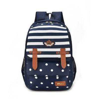 Striped Casual Shoulder Bag Wave Point Pattern Backpack