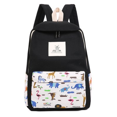 3pcs Canvas Travel Backpack Colorful Cartoon Animal Printing Bags