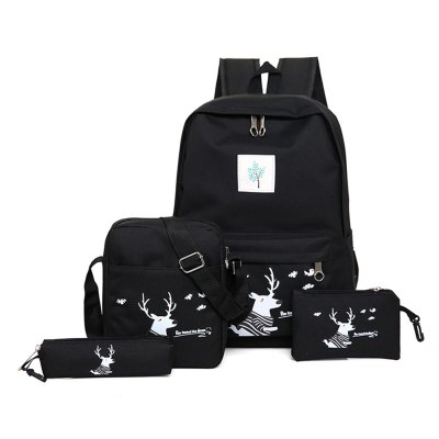 Canvas Casual Leisure Travel Backpack Printed Deer Printed Four - Piece School Bag