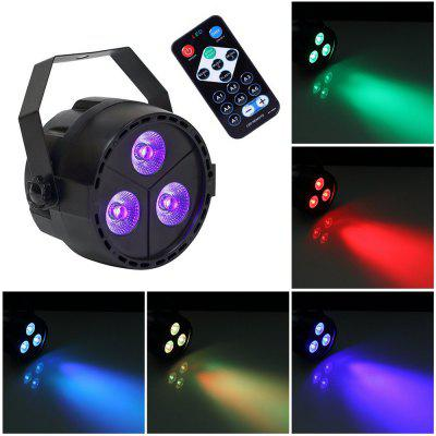 U`King 15W 3 LED Par Light RGB Purple Color Mixing Stage Effect Lighting with One Remote Control