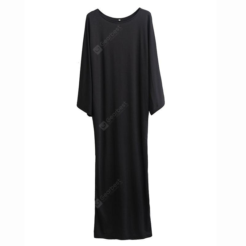 Pure Color  Bat Sleeve and Ankle Long Dress
