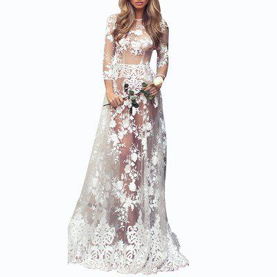 Lace Hollow Out Round Neck Long Sleeve Evening Dress