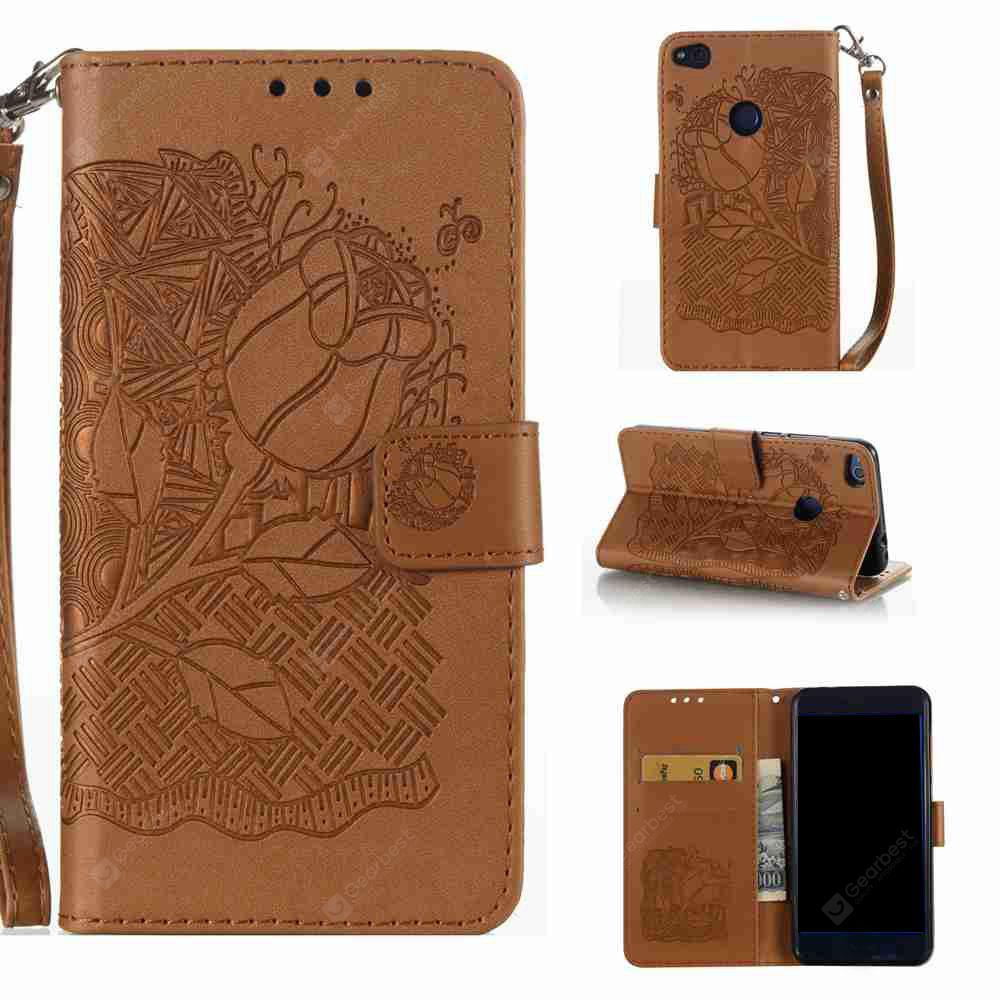 Double Embossed Rich Flowers PU TPU Phone Case for HUAWEI P8 Lite 2017