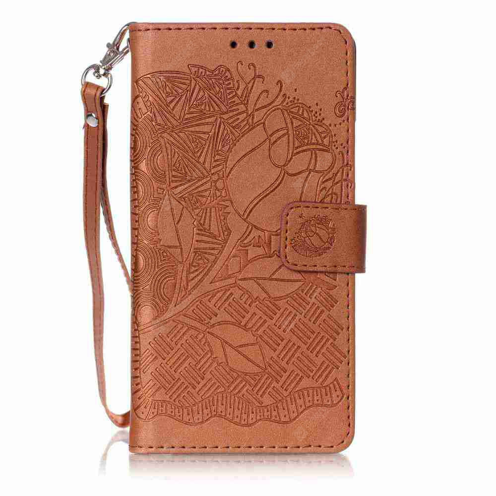 Double Embossed Rich Flowers PU TPU Phone Case for HUAWEI P9 Lite