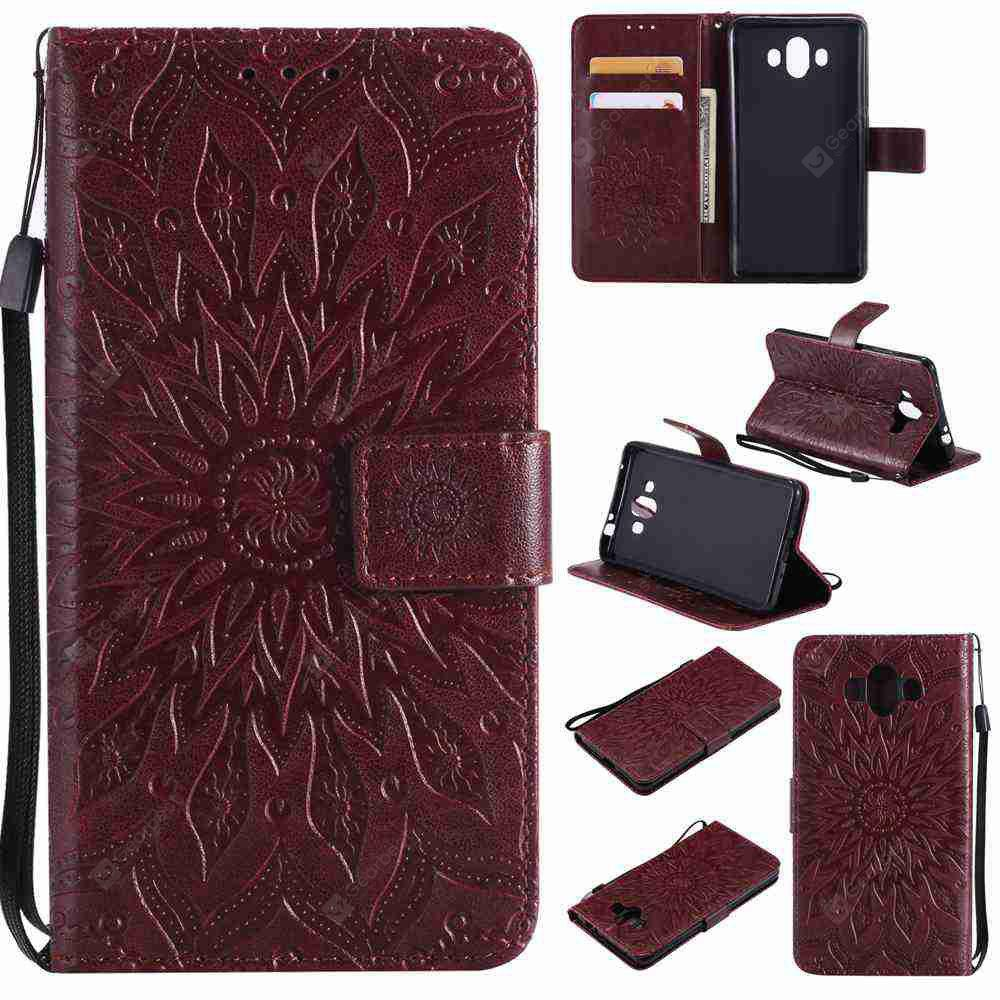 Double Embossed Sun Flower PU TPU Phone Case for HUAWEI Mate 10