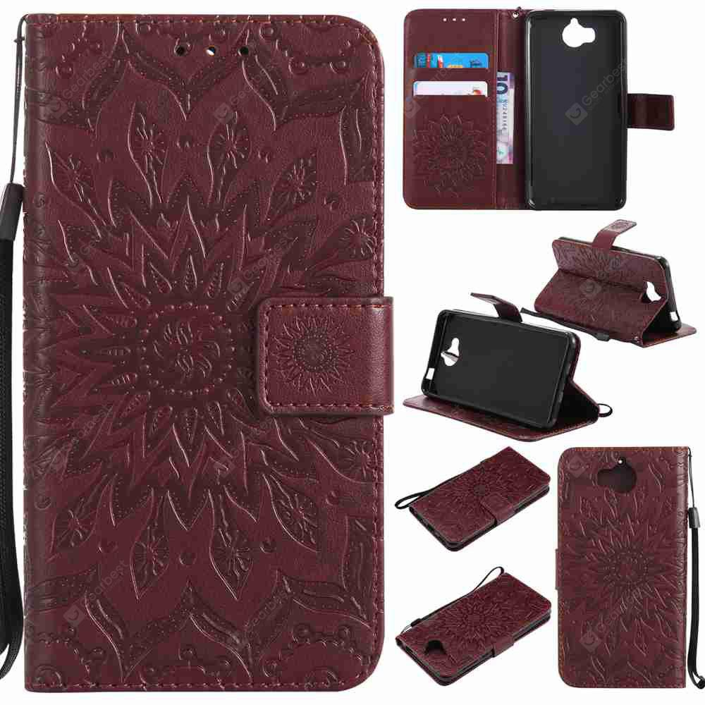 Double Embossed Sun Flower PU TPU Phone Case for HUAWEI Y5 2017
