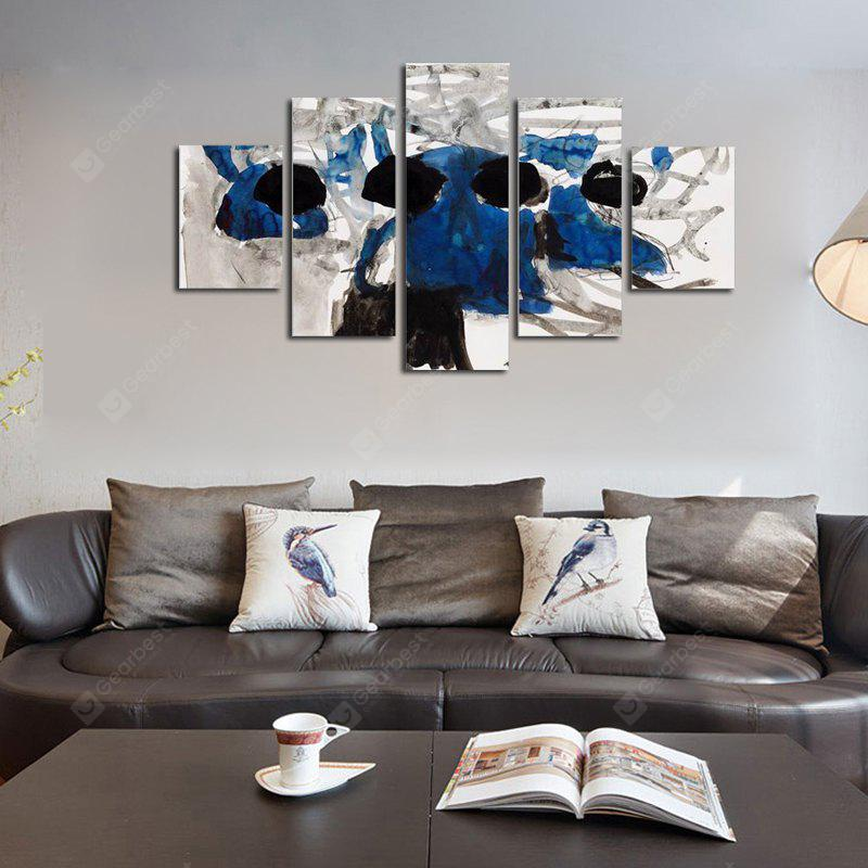 QiaoJiaoHuanYuan No Frame Canvas Abstract ink Blue Decorative Print 5PCS