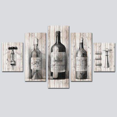 QiaoJiaoHuanYuan No Frame Canvas Wine Bottle Decoration Print 5PCS
