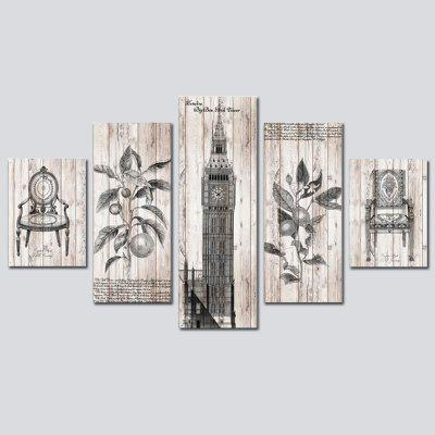 QiaoJiaoHuanYuan No Frame Canvas Tower Decoration Print 5PCS