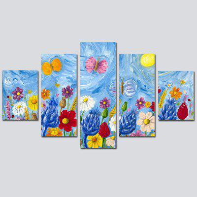 QiaoJiaoHuanYuan No Frame Canvas Abstract Color flower Decoration Print 5PCS