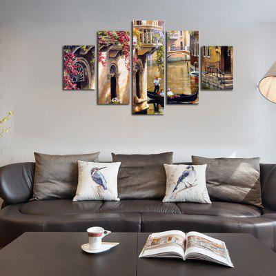 Buy COLORMIX QiaoJiaoHuanYuan No Frame Canvas City Landscape Architecture Decorative Print 5PCS for $32.14 in GearBest store