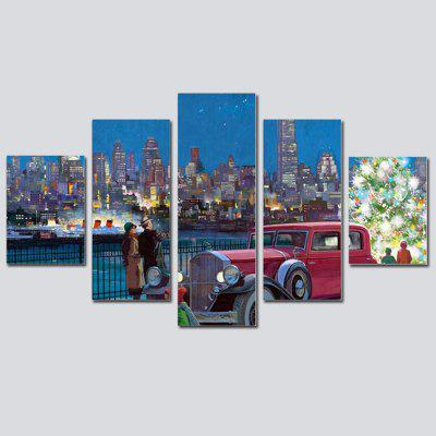 Buy COLORMIX QiaoJiaHuanYuan No Frame Canvas European City Night-View Decorative Print 5PCS for $32.14 in GearBest store