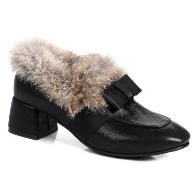 Women's Martin Shoes Thick Low Heel Fuzz Decoration Bootine