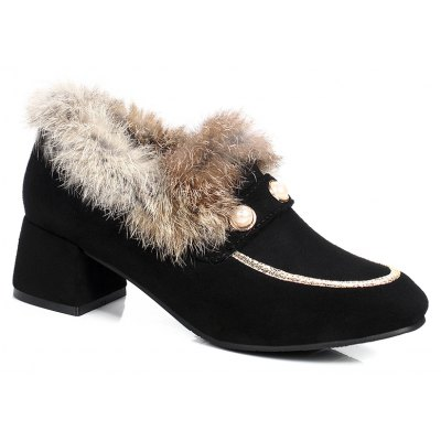 Women's Shoes Thick Heel Fuzz Artificial pearls Warm Stylish All-match Ankle Boots
