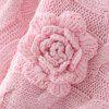 Twist Collar Sweater Cuff Bat Female Chest Stereo Decorativo flor suéter - ROSA