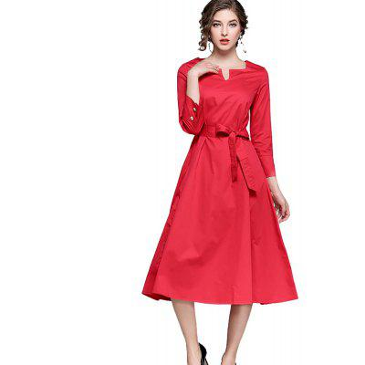 Autumn Solid Color Waist Was Thin Dress