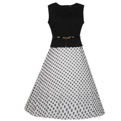 Women's Wear Sleeveless Stitching Fashion Polka Dot Large Swing Dress