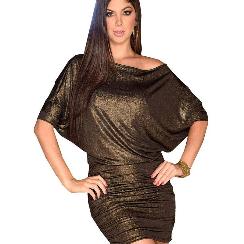 Women's Batwing Sleeve Solid Color Sexy Dress