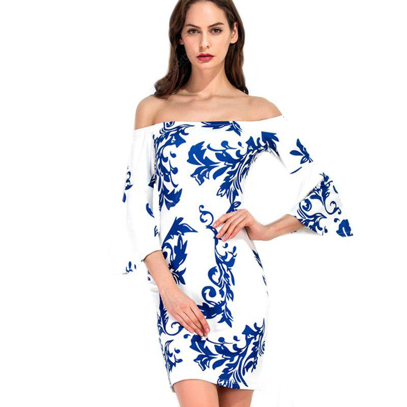 Women's Sexy Slim Strapless Printed Dress
