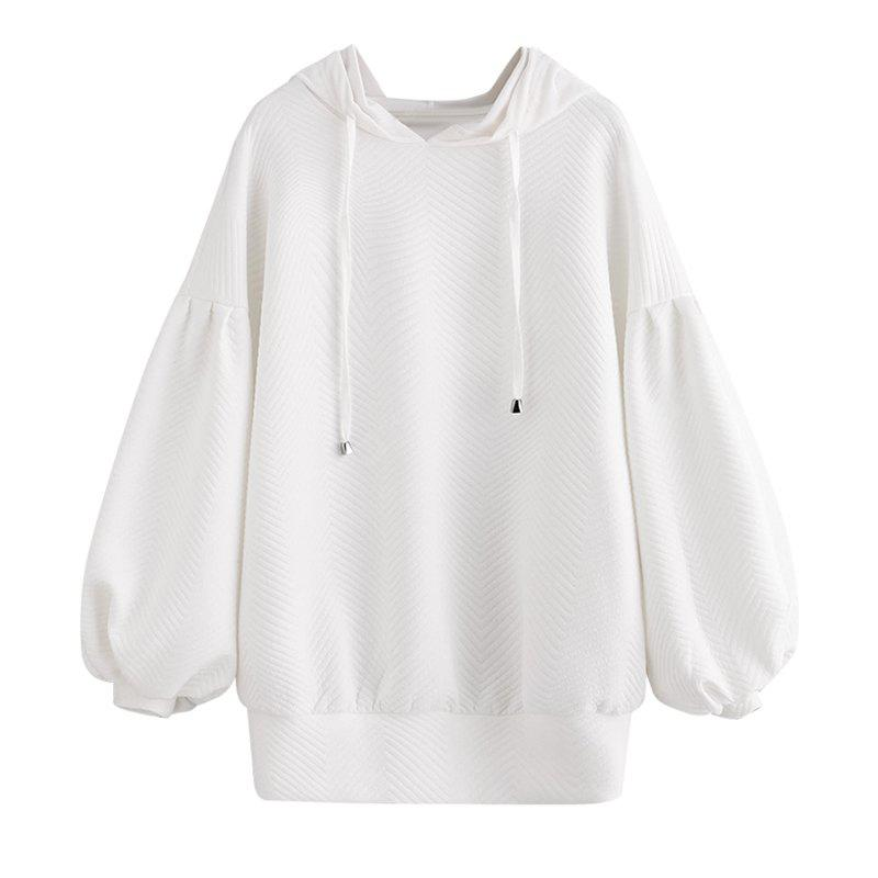 Women's Fashion Large Size Solid Color Long-Sleeved Sweatshirt