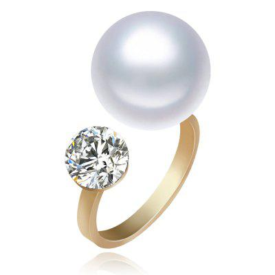 Fashion Adjustable Jewelry 18K Gold Plated Pearl Rings with Diamond