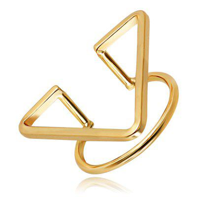 Creative Geometric Opening Triangle Rings Adjustable 24K Gold Plated Charm Jewelry