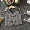 Fallow Fashion Grid Casual Suit Three-piece Suit - GRAY