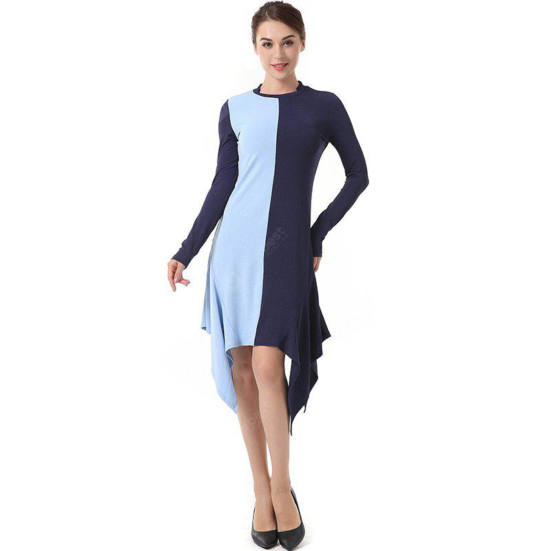 The Round Collared Long Sleeve Irregular Knit Dress