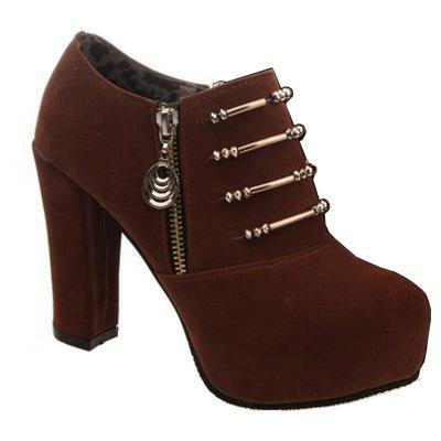 Ladies' Pointed Heel and Suede Metal Bars Decorate Women'S Fashion Shoes